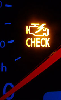 check engine light on car dashboard