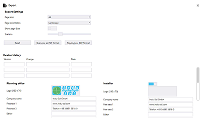 PROnetplan's user interface of the export function for PROFINET network conception