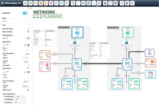 Ethernet/PROFINET Industrial Network Planning Software PROnetplan V2 topology drag and drop interface
